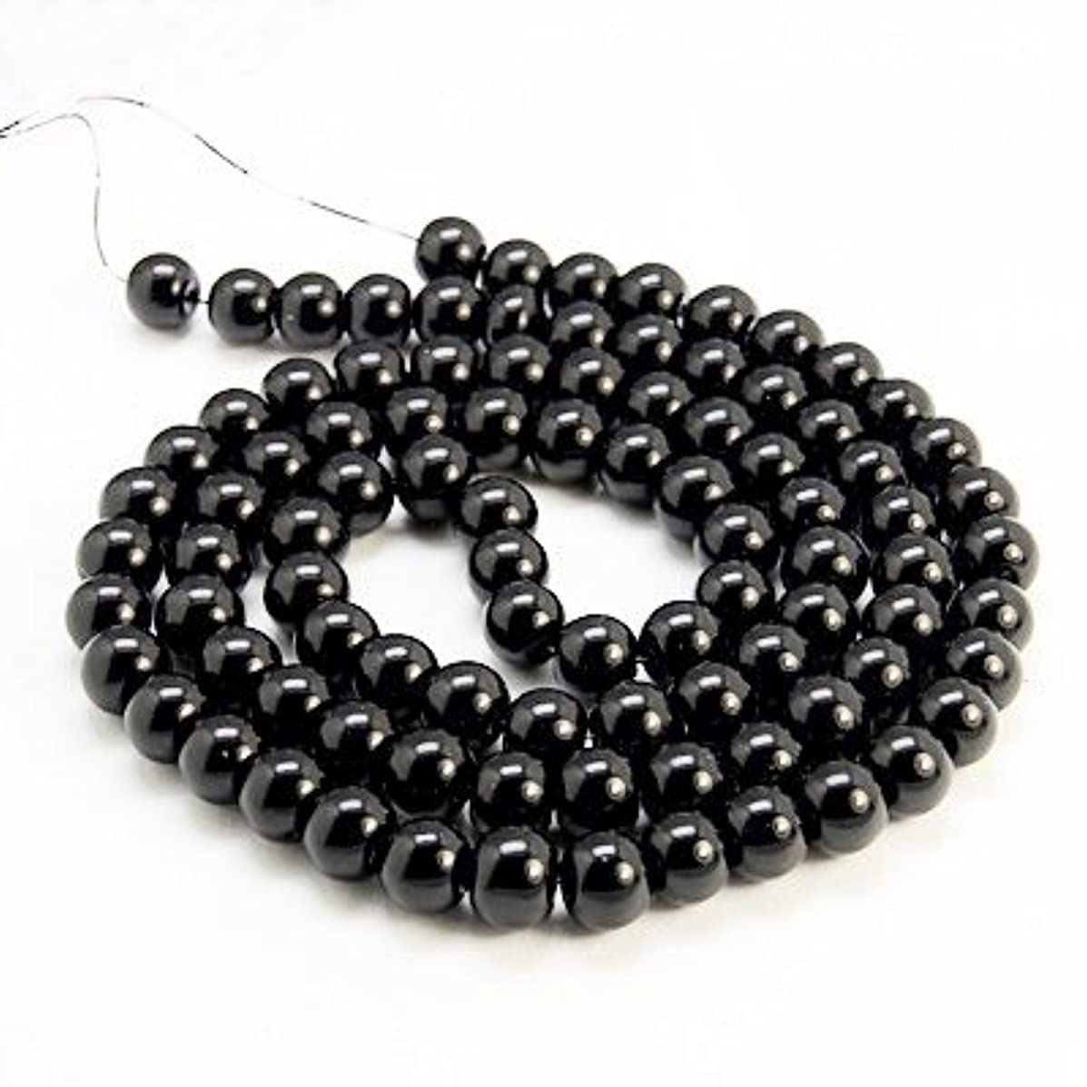 AMZ Beads - Package of 200! 6mm Glass Round Pearls Jewelry Making Loose Pearl Beads … (Jet Black)