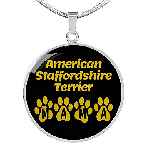 American Staffordshire Terrier Mama collar de acero inoxidable o oro de 18 quilates 45,7 - 55,8 cm - - talla única