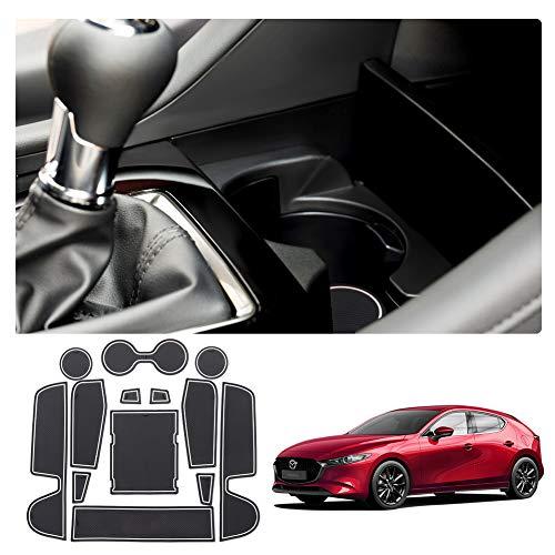 LFOTPP Mazda3 Tappetini Gomma, Tappetino Antiscivolo per Portabicchieri Braccioli Scanalatura Porta Interni Auto Accessori 13 Pezzi (Bianco)