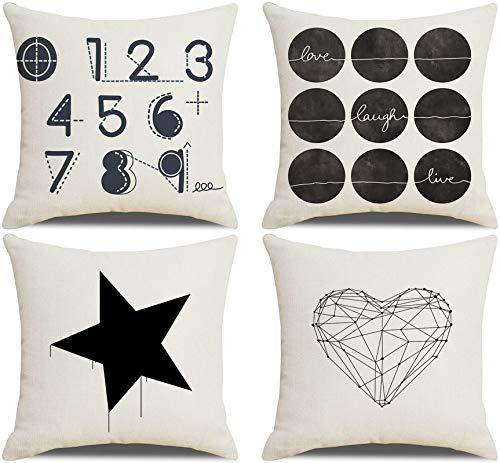 AtHomeShop - Set di 4 federe per cuscini decorativi, 40 x 40 cm, in lino con stelle e cuori arabi, morbidi, quadrati, per divano, decorazione – nero/bianco