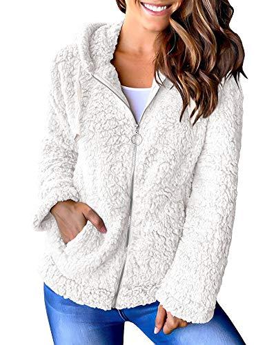 Sherpa - Chaqueta de forro polar con capucha y bolsillos gruesos para mujer - Blanco - XL