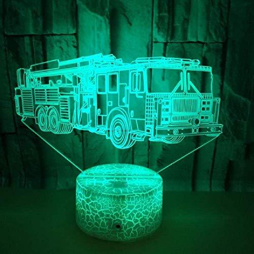 Fire Engine Modélisation 3D Illusion Night Light 16 Changement de couleur Led Atmosphère Décoration de la maison Lampe Cadeau pour les enfants