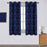 Fish Bedroom Curtains Oriental Koi Fish Floral Arrangement Petals and Leaves Doodle Style Animal Suitable forDecorative Darkening Curtains W55'x L39' Royal Blue Aqua Orange