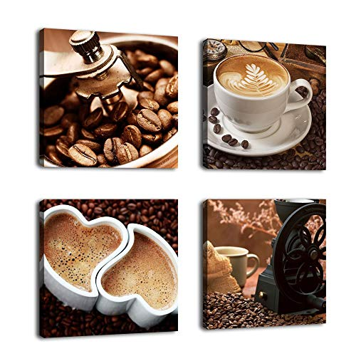 Kitchen Canvas Wall Art Coffee Bean Coffee Cup Coffee Grinder Canvas Pictures Large Modern Artwork Prints for Dining Room Home Decorations 12' x 12' x 4 Pieces Framed Ready to Hang