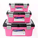 APOLLO TOOLS Set of 3 Pink Stackable Tool Boxes with Top Compartment and Removable Trays for Crafts, Tool Storage - Pink Ribbon - DT5005P