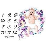 Manta de hito para bebé mensual, accesorio de fondo para fotos de recién nacido, manta reutilizable para envolver al bebé para fotografía Mermaid