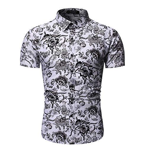 Camisa de Solapa para Hombre con Estampado étnico Retro Camisa de Manga Corta Ajustada de Verano Tops Casuales cómodos y Transpirables Large