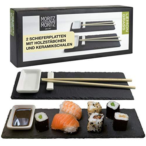 Moritz & Moritz Sushi Platte Schiefer mit Dipschalen - 10 teilig für 2 Personen - Sushi Geschirr Schieferplatten mit Stäbchen Ablagebänkchen Dipschalen Schiefertellern