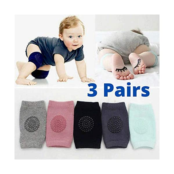 Truvic 3 Pairs Baby Knee Protection Pad for Kids Crawling, Anti-Slip Padded Stretchable Elastic Cotton Soft Breathable… 1 51rVPAzpnPL