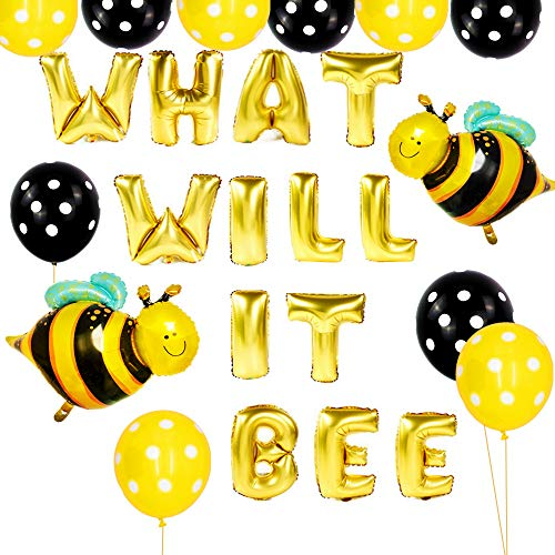JeVenis What Will It Bee Party Balloons What Will It Bee Banner Baby Shower Party Decoration for Gender Reveal Party Decoration What Will It Be Shower Party Supplies