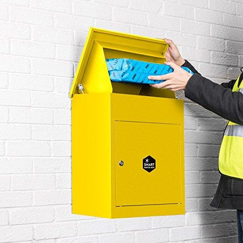 Smart Parcel Box, mittelgroßer Paketbriefkasten mit Paketfach und Briefkasten, sicherer Paketkasten für Zuhause und Unternehmen mit Rückholsperre, für alle Zusteller geeignet, 44 x 35 x 58 cm, gelb