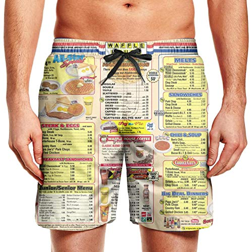 Waffle-House-Menu-Good-Food-Fast- Mens Boardshorts Side Split Quick Dry Breathable Swimming Trunks Shorts with Pockets