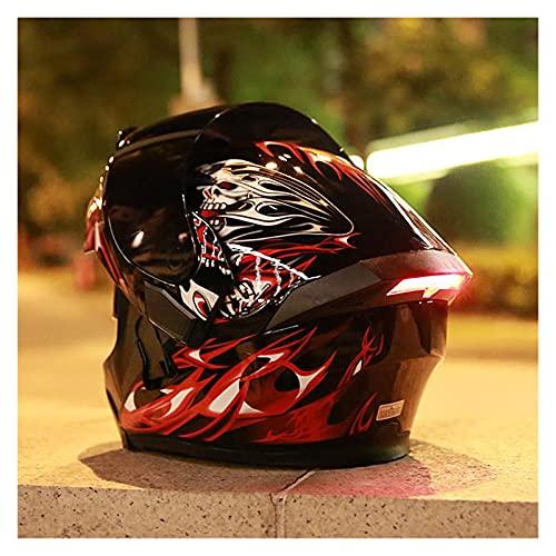 YALIXING Casco de motocicleta plegable HD con doble visera de cara completa modular con luz de advertencia LED forro extraíble aprobado por DOT/ECE (color: E, tamaño: S)