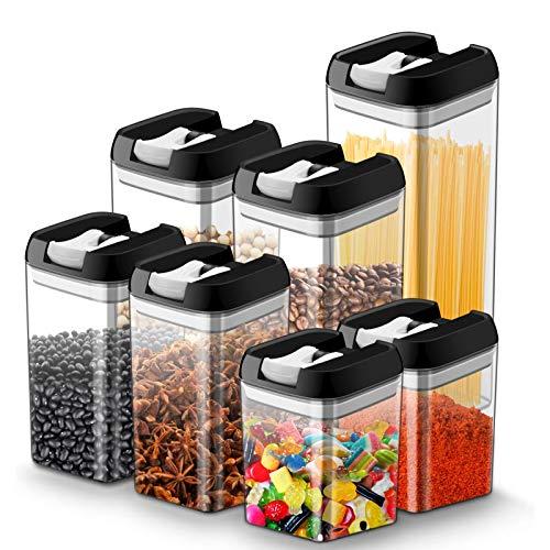 ICECON Contenedores Almacenamiento Alimentos Durables, Contenedores Cereales Secos, Sin BPA, Contenedores De Almacenamiento Cereales Secos con Tapa, para Mantener La Comida Fresca (Paquete De 7)