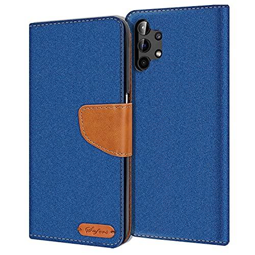 Verco Art Funda de Cuero Samsung Galaxy A32 5G, Funda para teléfono móvil para Galaxy A32 5G Funda de Libro Tela, Azul