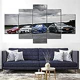SGDJ Impresión de Lienzo de Pared Arte Nissan Skyline GTR R32 R33 R34 5 Piezas Pinturas Giclée de Moderna Estirada y Enmarcado Arte Cuadros estirados y enmarcados