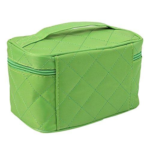 eucoo mujer Bolsa Multifuncional de maquillaje de belleza Bolsa cuadrada de la Bolsa cosmética de color PURO verde