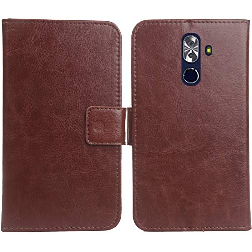 "Gukas Color Design PU Wallet Flip Leather with Card Slots Cover Skin Protection Case Shell for NUU Mobile G2 5.99"" (Brown)"