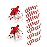 GARNECK Scatole di Caramelle da 50 Pezzi a Forma di Piramide contenitori di Caramelle di Natale a Strisce e scatole Regalo bomboniere per Confezioni per Banchetti