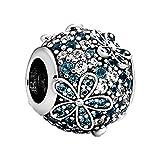 LIJIAN S925 Argent Sterling Perle Bleu Vert Pavé Daisy Fleur Pendentif Bracelet Lady DIY Bijoux