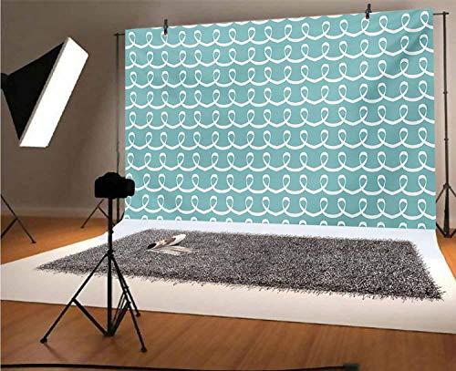 Fondo de vinilo turquesa de 10 x 6.5 pies, para fiestas festivas con temática oceánica inspirada en el océano, líneas dibujadas a mano, para bebé, cumpleaños, boda, estudio, fotografía.
