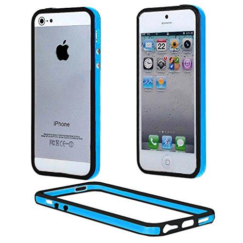 ebestStar - Bumper Compatible con iPhone SE 5S 5 Funda Protectora Bordes Lados Reforzados, Carcasa Anti choques, Azul/Negro [Aparato: 123.8 x 58.6 x 7.6mm, 4.0'']