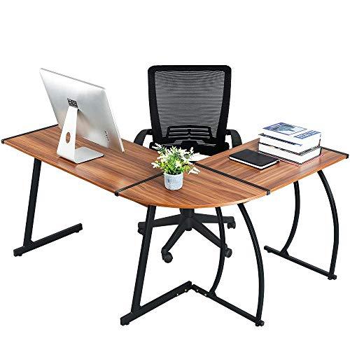 Computer-Desk Office Desk L-Shaped Wood Corner Desk Computer Workstation Large PC Gaming Desk Home-Office Table 148x112x74cm, (Walnut)