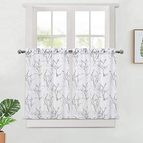 "Haperlare Kitchen Curtains for Bathroom, Black and Grey Branch Tree Pattern Tier Curtains 30 Inch Farmhouse Tree Design Linen Textured Café Curtain Set Bathroom Curtains Window, 27"" x 30"", Set of 2"