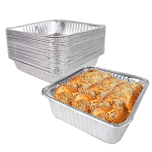 [33 Pack] Square Foil Pans 8 inch - Aluminum Cake Pan/Baking Pans for Reheating, Roasting, Grilling and Broiling, Disposable Food Container, Catering Trays, Freezer and Oven Safe