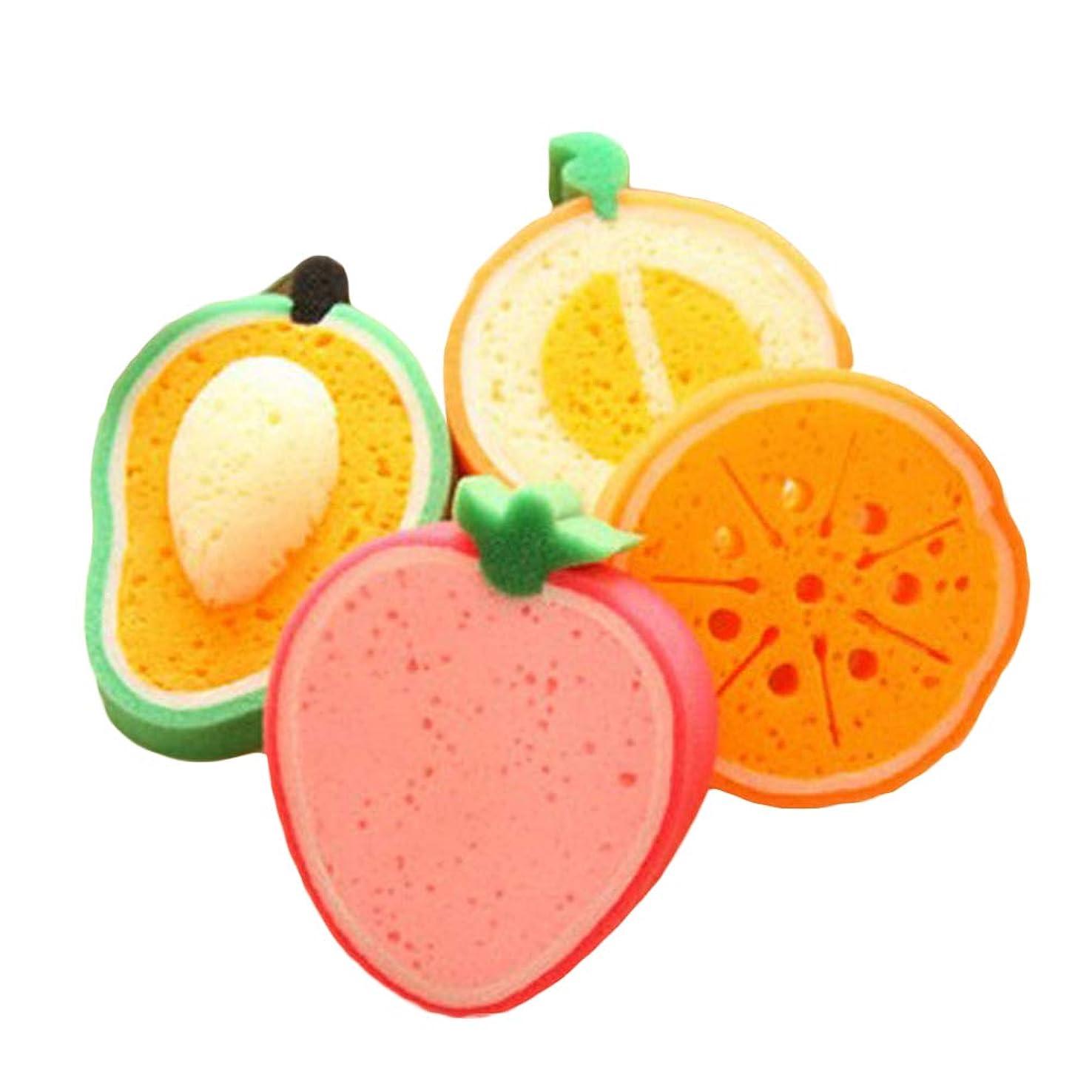 ティーンエイジャーキュービック連続したROSENICE 子供のためのフルーツの形のバススポンジバスブラシ4個