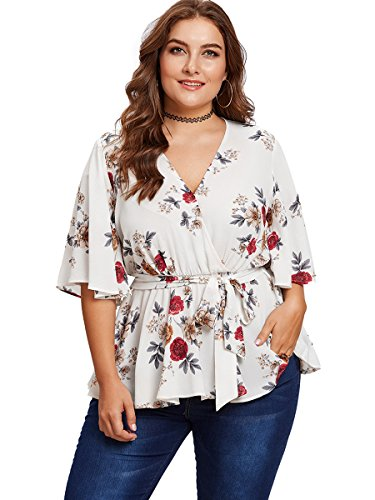 Romwe Women's Plus Size Floral Print Short/Long Sleeve Belt Tie Peplum Wrap Blouse Top Shirts White 3XL