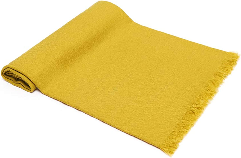 100% cashmere Scarves,Women classic tassel wool scarf fall winter student scarf warm wrap shawlyellowA 70x180cm(28x71inch)