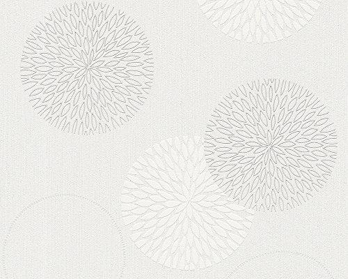 A.S. Création vliesbehang spot behang met grafische bloemen bloemen Zonder lijm 10,05 m (Länge) x 0,53 m (Breite) Creme, Weiß