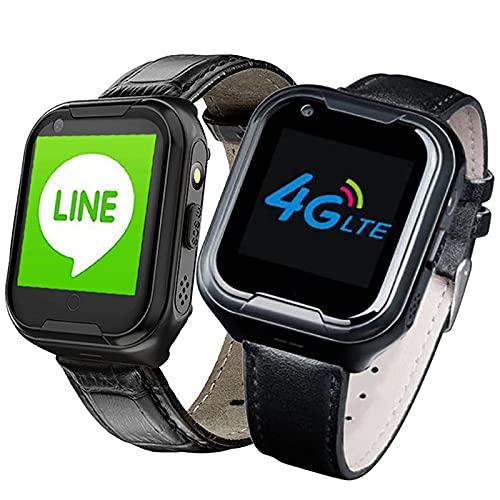 URJEKQ Health Smart Watch para Personas Mayores GPS Tracker Watch SOS Alarm Geo-Fence Monitorización de Pantalla táctil Pasos de Salud Anti-Lost Impermeable GPS Smart Watch