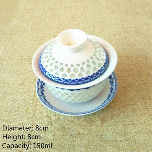 22222Tazza Tazza da tè Cinese A Nido d'Ape in Ceramica Gaiwan Kungfu Tazze da tè E Piattino in Porcellana Style-17-S