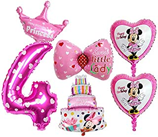 BCD-PRO 4th Birthday Mickey Mouse Minnie Mouse Balloons for Girl 6 pcs - Party Supplies - Ribbons included
