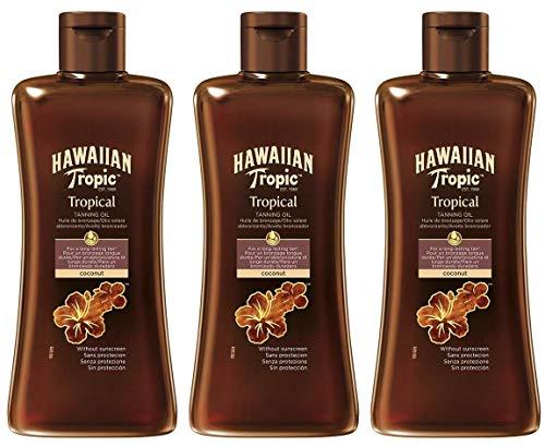 HAWAIIAN Tropic Tanning Oil - Aceite Bronceador Solar Corporal, Potenciador del Bronceado Fragancia Tropical, Transparente, Pack 3 x 200 Mililitros