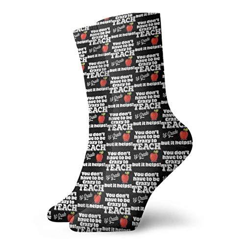 Profesor de 1er grado – No tienes que estar loco para enseñar primer grado, pero ayuda a los calcetines clásicos de ocio y deporte, calcetines cortos de 30 cm, adecuados para hombres y mujeres