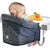 Hook On Chair, Clip on Table High Chair with Dinging Tray Plus for Home and Travel, Attach to Fast Table Chair with Five-Point Seat Belt, Fold-Flat Storage Portable Removable Feeding Seat