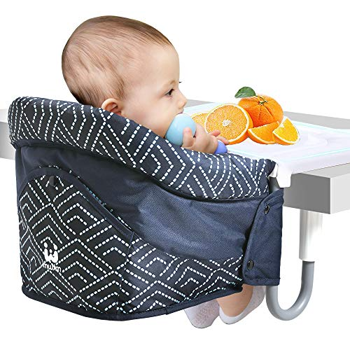 Hook On Chair, Attach to Fast Table Chair with Five-Point Seat Belt, Fold-Flat Storage Portable Removable Feeding Seat, Clip on Table High Chair with Dinging Tray Plus for Home and Travel