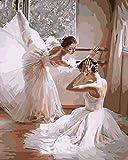 Alittle Pintar por Numeros para Adultos Nios Pintura por Nmeros con Pinceles y Pinturas Decoraciones para el Hogar Bailarines de Ballet (16 * 20 Pulgadas, Sin Marco)