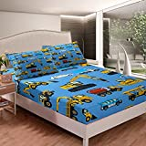 Loussiesd Juego de cama excavadora para niños y niños, equipo de construcción de coches, juego de sábanas para camiones, sábana bajera ajustable, funda de cama para tractor, tamaño doble, 3 unidades