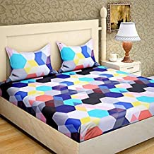 DECO READY Glace Cotton King Size Double Bedsheet,Set of 1 Bedsheet and 2 Pillow Covers (Multi)