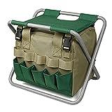 Taburete de jardín plegable, con bolsa de herramientas de jardinero desmontable, silla de uso múltiple pequeña, ideal para acampar, pesca, deportes al aire libre, regalo