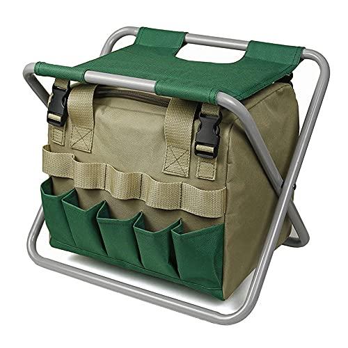 Taburete de jardín plegable, con bolsa de herramientas de jardinero desmontable, silla...