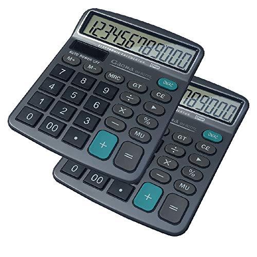 HIHUHEN calcolatrice da 12 cifre, tasti grandi, calcolatrice da tavolo per scuola, home office - batteria inclusa (2Pcs Calculators)
