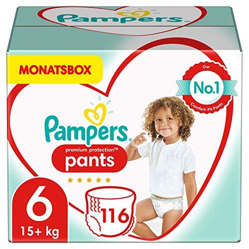 Pampers Größe 6 Premium Protection Baby Windeln Pants, 116 Stück, MONATSBOX, Weichster Komfort Und Schutz (15+ kg)