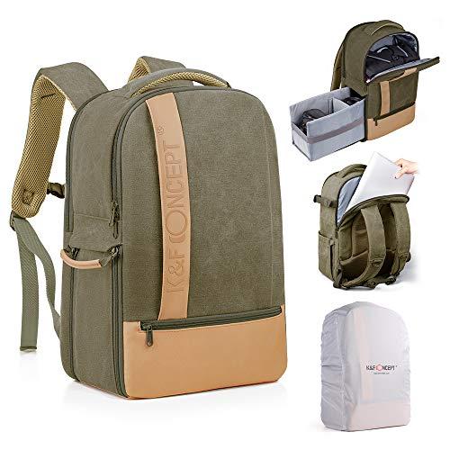 K&F Concept Kamerarucksack Fotorucksack für Canon Nikon Sony Fujifilm Olympus SLR Spiegelreflexkamera und 14 Zoll Laptop 17 Liter
