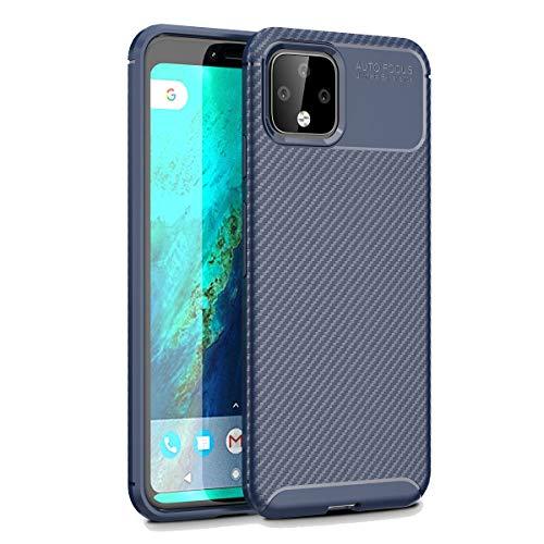 YINCANG Capa para Google Pixel 4, capa protetora resistente de silicone TPU com design antiderrapante de fibra de carbono para Google Pixel 4 5,7 polegadas (azul)