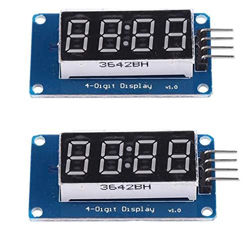 2 Stück 0,91,4 cm 4-stellige LED-Anzeige für Arduino UNO R3 rote Anode TM1637 Drive Chip Tube Clock Display